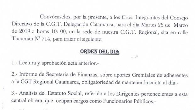 Reunión Consejo Directivo de la CGT Catamarca
