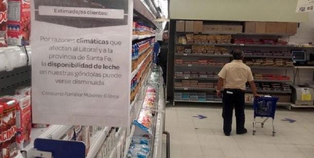 Desabastecimiento de leche de segunda marca en los supermercados de capital
