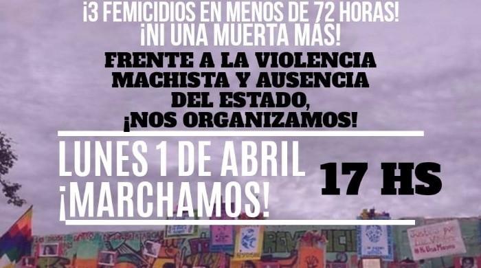 Por las tres mujeres ASESINADAS , convocan a una marcha para este lunes