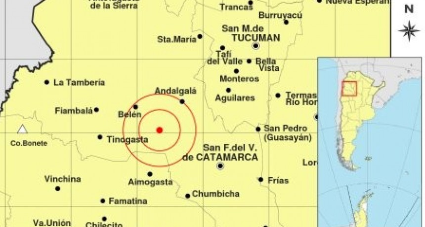 Un fuerte sismo de 5 grados sacudió a Catamarca