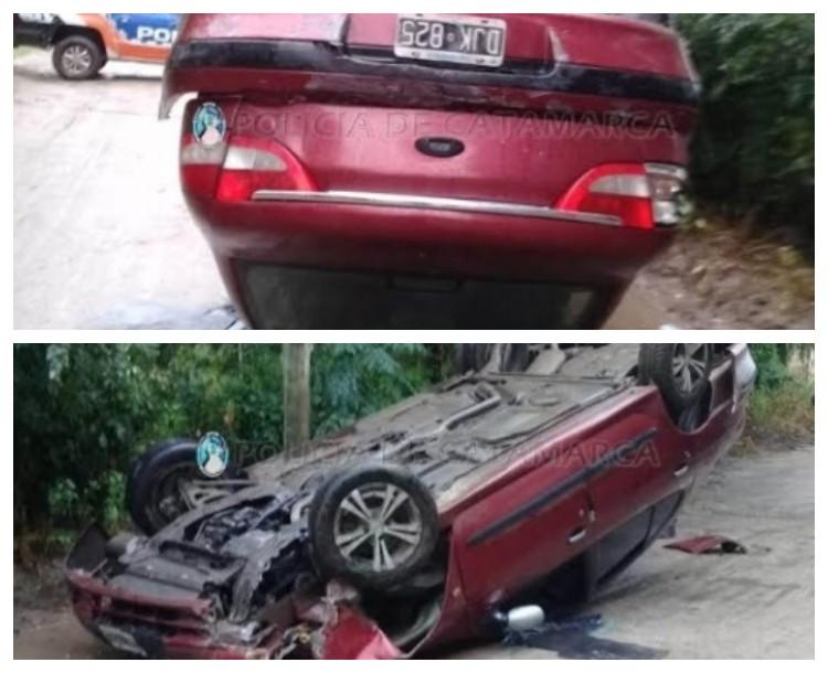 Adolescente volcó el auto que manejaba