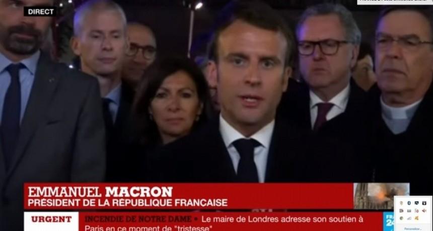 Reconstruiremos Notre Dame, anticipó el presidente francés