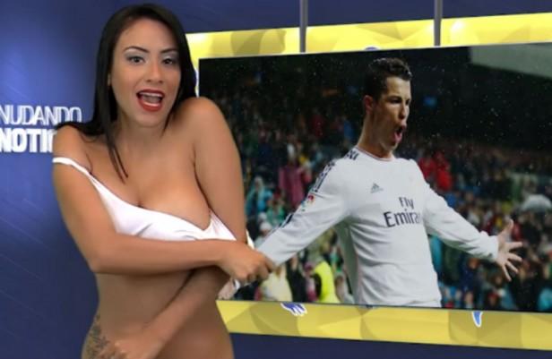 Conductora  se Desnudo Mientras hablaba  de Cristiano Ronaldo