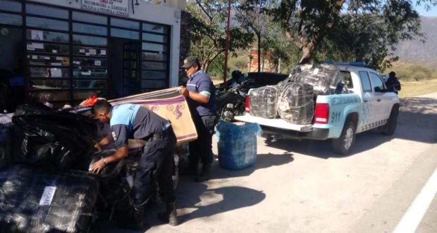 Secuestran mercadería ilegal en Puesto Caminero de El Portezuelo