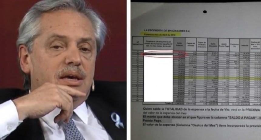 Alberto Fernández debe medio millón de pesos de expensas en un country
