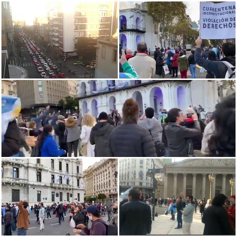 Fuerte cacerolazo y protestas en el Obelisco en contra de la cuarentena