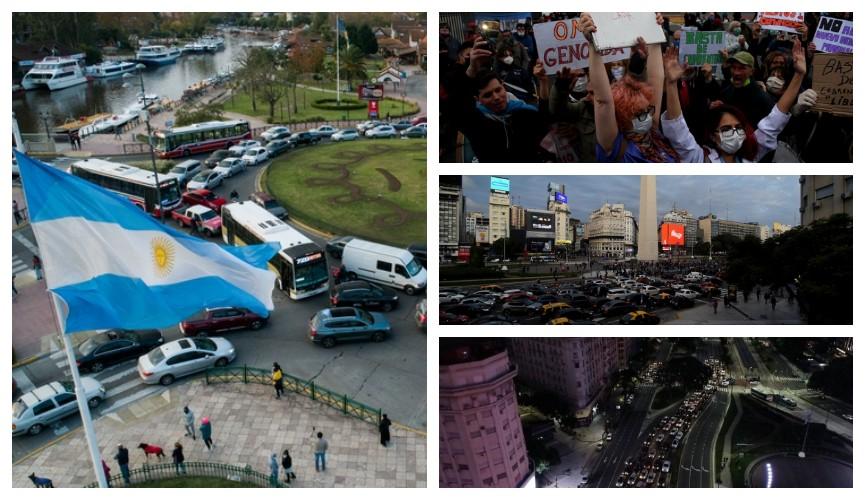 Protestas y movilizaciones en el Obelisco y en distintos puntos del país contra la cuarentena