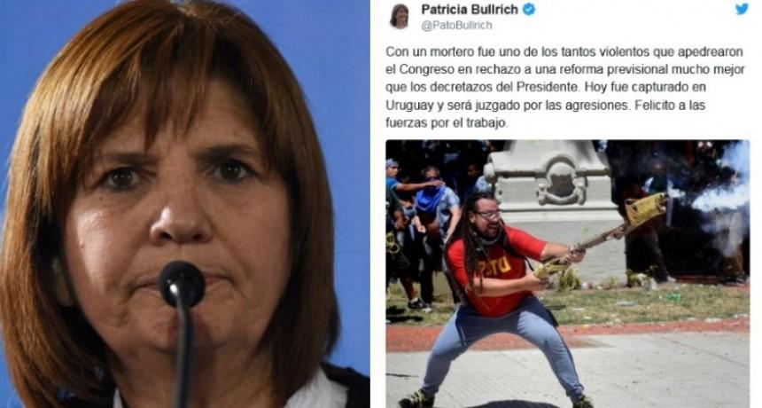 Patricia Bullrich festejó la detención del militante del mortero