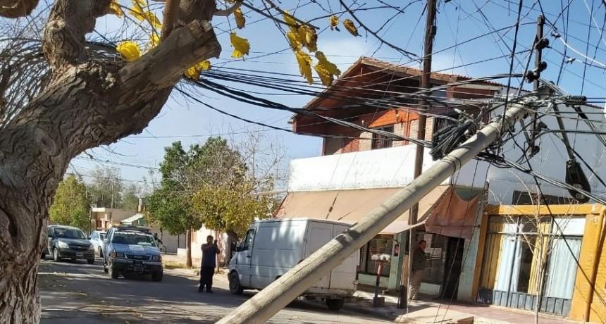 Viento zonda produce daños en la línea de energía eléctrica en Tinogasta