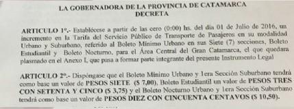 La Gobernadora Corpacci firmó el decreto de aumento del boleto