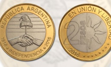 El Banco Central emitirá una nueva moneda de dos pesos por el Bicentenario