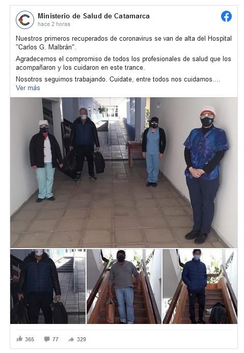Recibieron el alta los primeros recuperados del hospital Malbrán