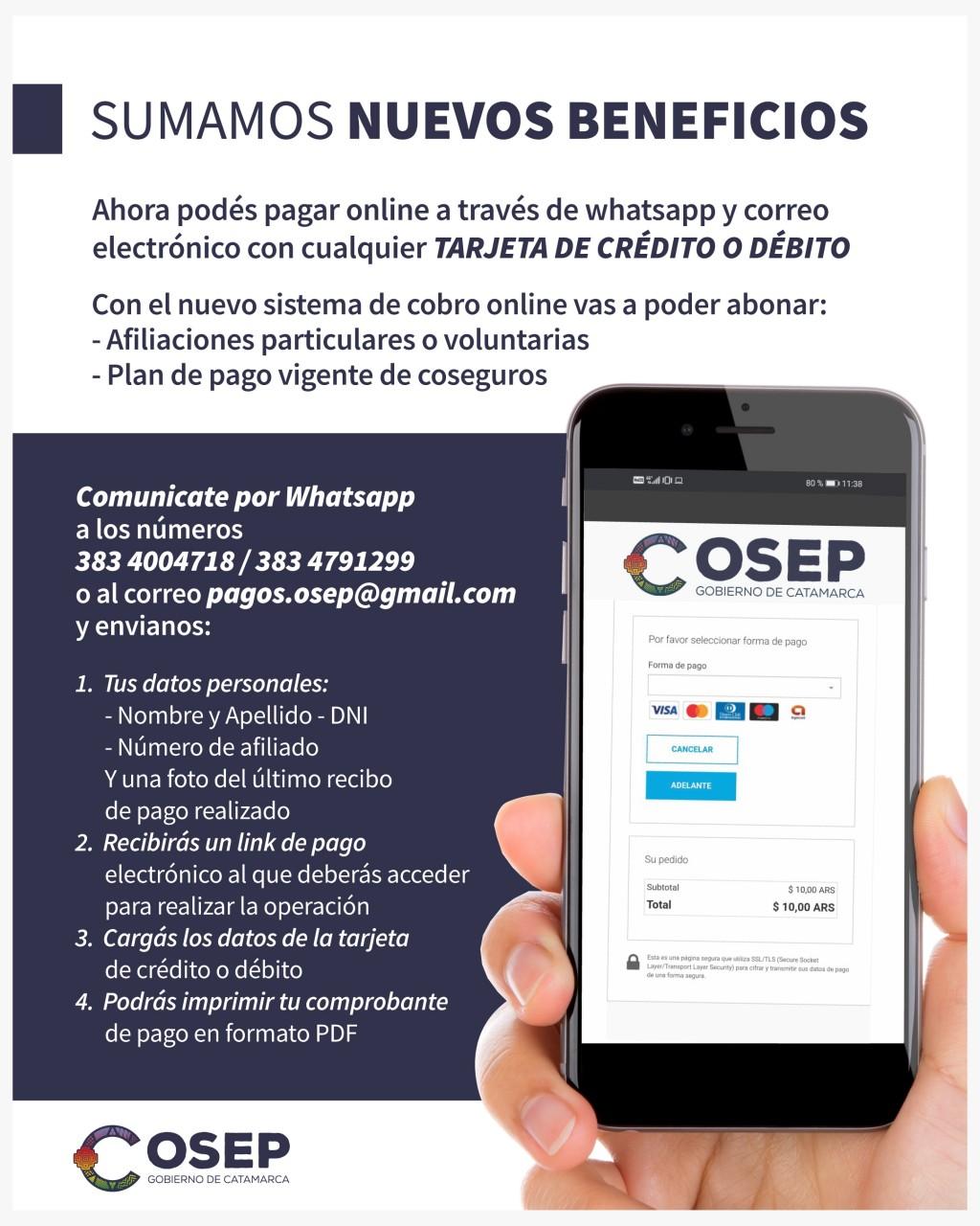 Entró en funcionamiento el sistema de cobro online de OSEP