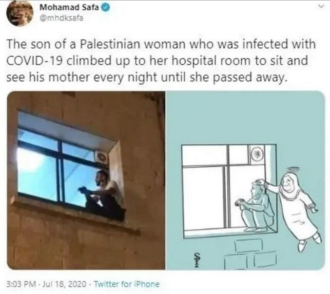 Coronavirus: trepó hasta la ventana del hospital para ver morir a su madre