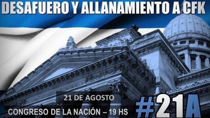 #21A: marchan al Congreso para reclamar por el desafuero de Cristina y la Ley de Extinción de Dominio