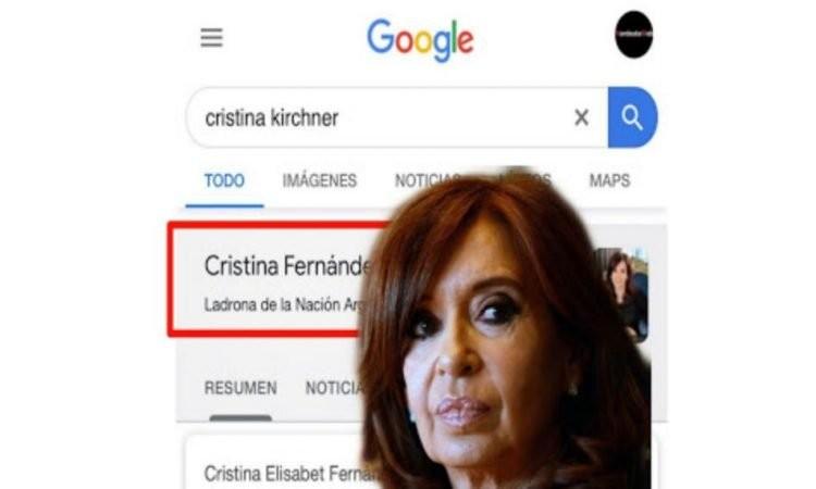 "Cristina Kirchner demandó ""por agravios"" a Google, por tildarla de ""ladrona"" en sus resultados"