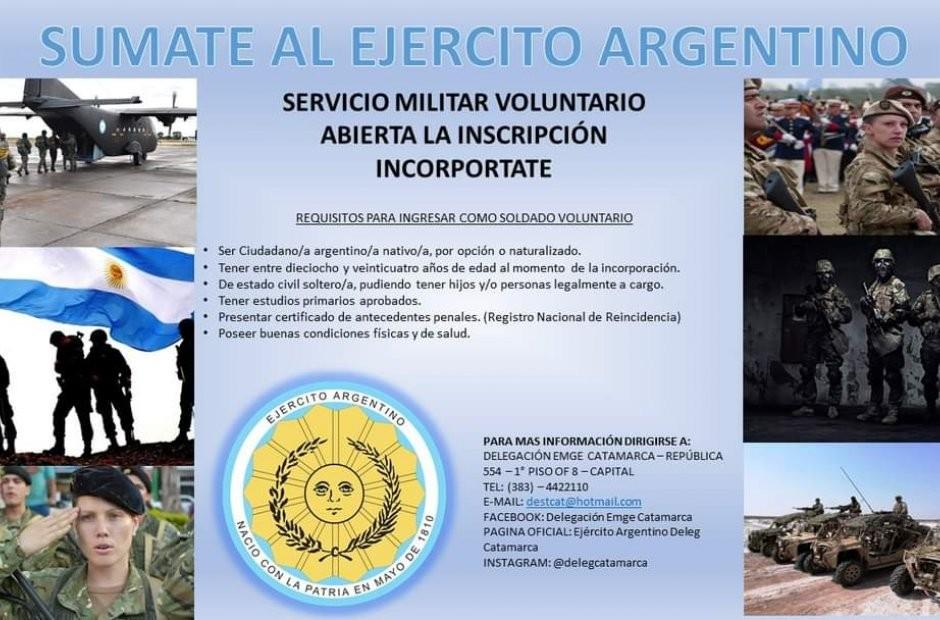 Continúan abiertas las inscripciones para sumarse al Ejército Argentino delegación Catamarca
