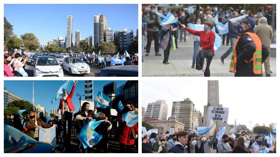 El Banderazo en el Obelisco y en distintos lugares del país en fotos