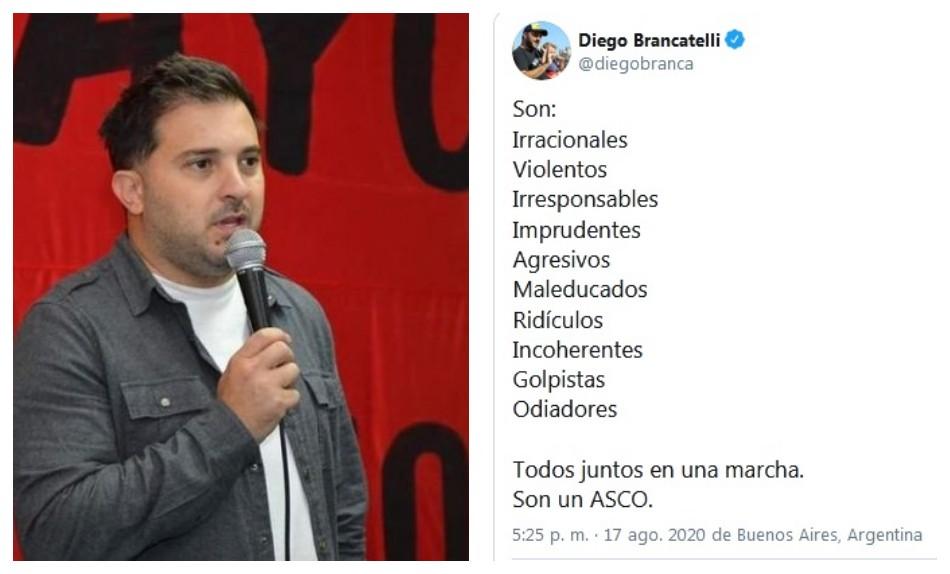 """""""Son un asco"""": el mensaje de Diego Brancatelli a los que marcharon en el 17A"""