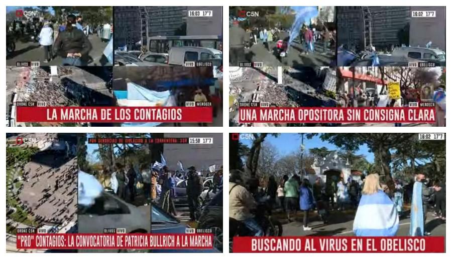 """""""Buscando al virus"""": los bizarros zócalos de C5N durante la marcha del 17A"""