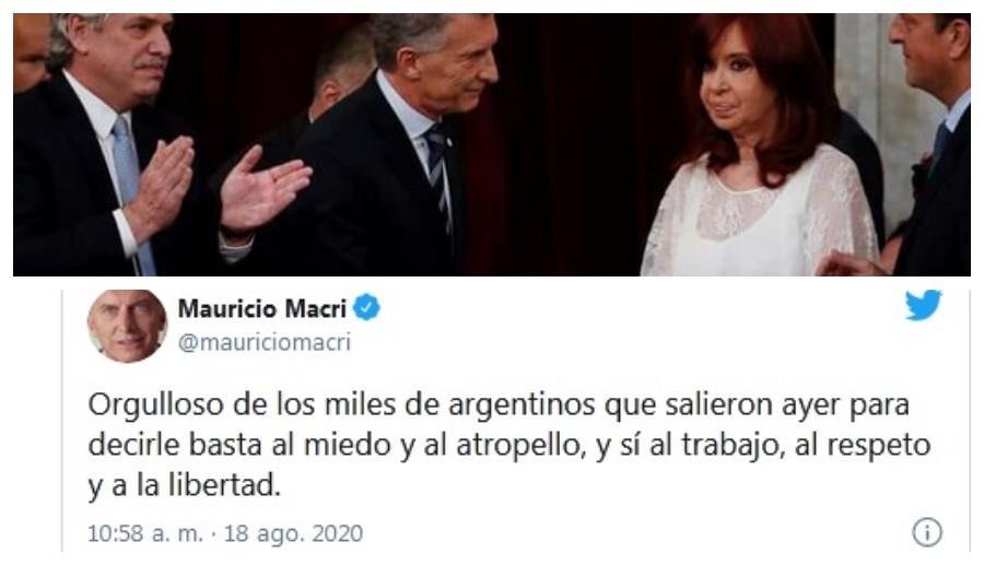 El Ex presidente Mauricio Macri capitalizó en Twitter el banderazo del 17A y envió un duro mensaje al Gobierno