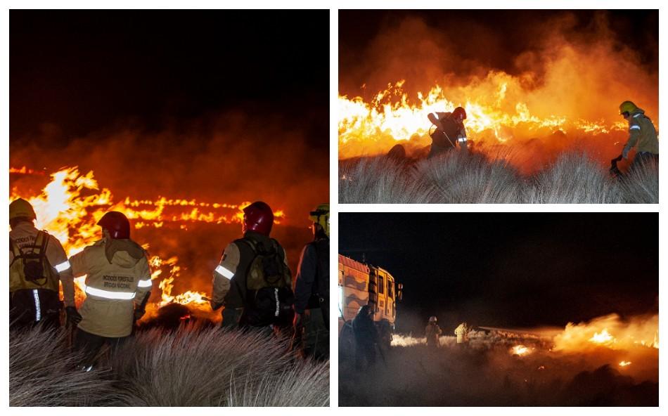 Incendio forestal de pastizales en el cerro Ancasti