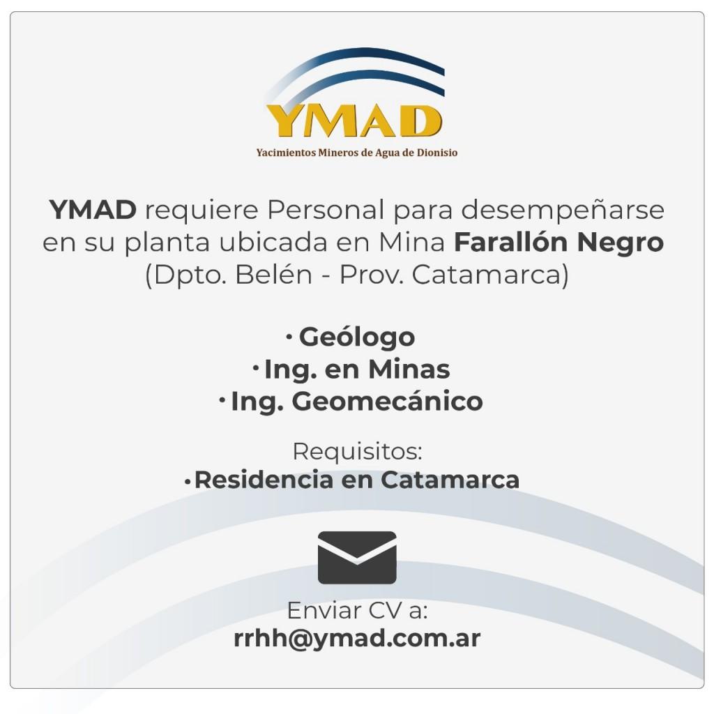YMAD busca personal  para Farallón Negro