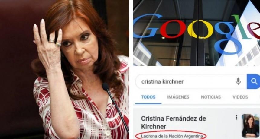 """La respuesta de Google al reclamo de Cristina Kirchner por describirla como """"ladrona de la Nación"""""""