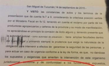 La Justicia le contestó a Alperovich: Los cañeros no cometen ningún delito al ocupar la Plaza