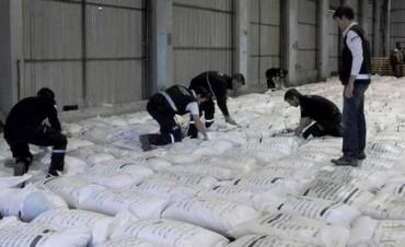 Rosario: secuestran unos 30 kilos de cocaína impregnados en granos de arroz