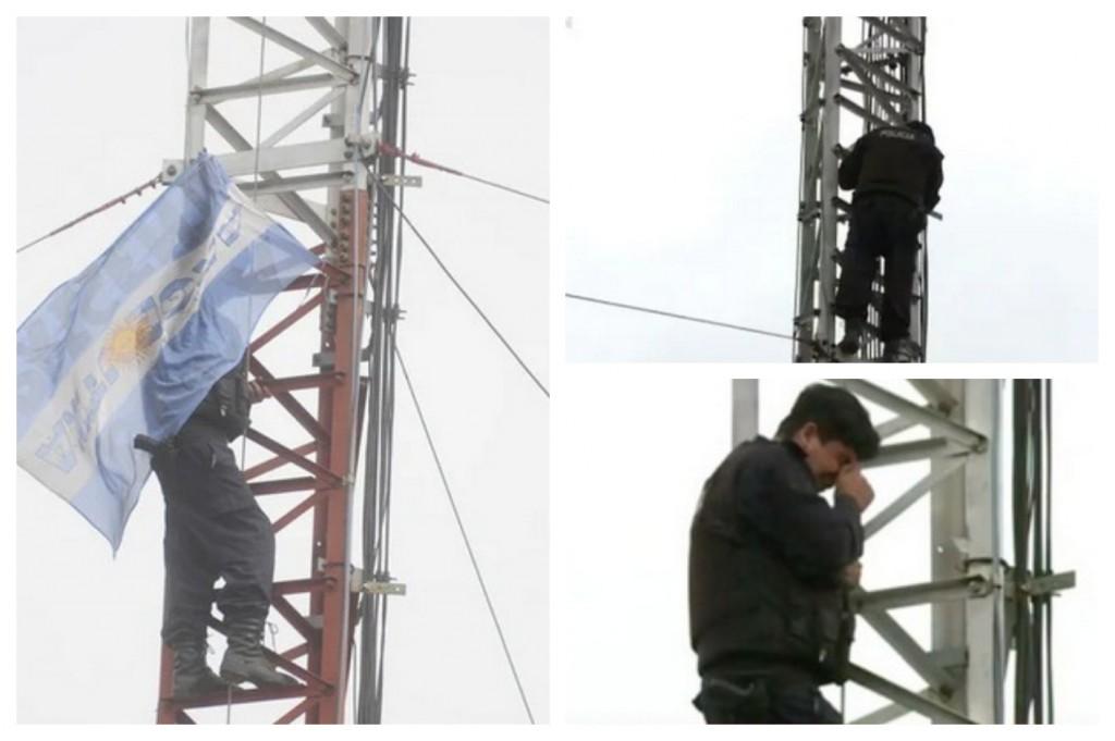 Protestas policiales: un efectivo se subió a una antena y amenaza con saltar