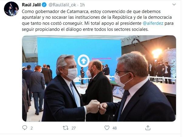 Conflicto con la policía: Jalil envió su apoyo a Kicillof y al presidente, Alberto Fernández