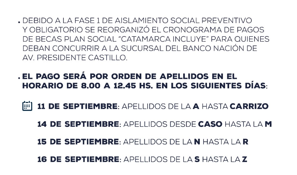 """Reorganización del pago de becas """"Catamarca Incluye"""" para beneficiarios sin tarjeta de débito"""