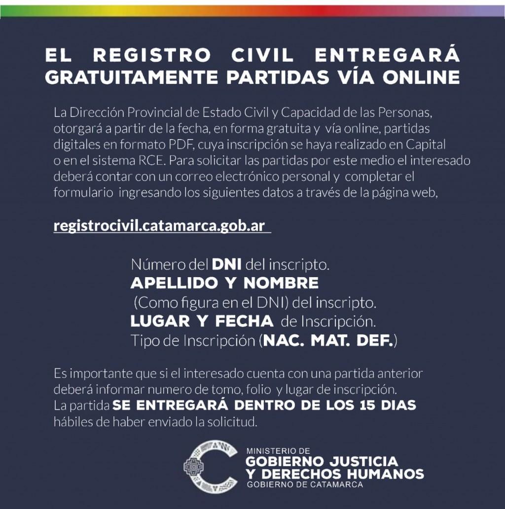 El Registro Civil entregará gratuitamente partidas online