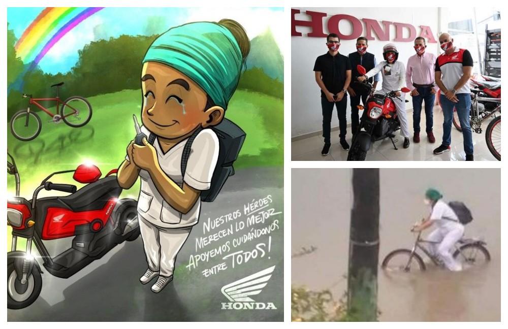 Honda regala una moto a una enfermera por su labor durante la pandemia