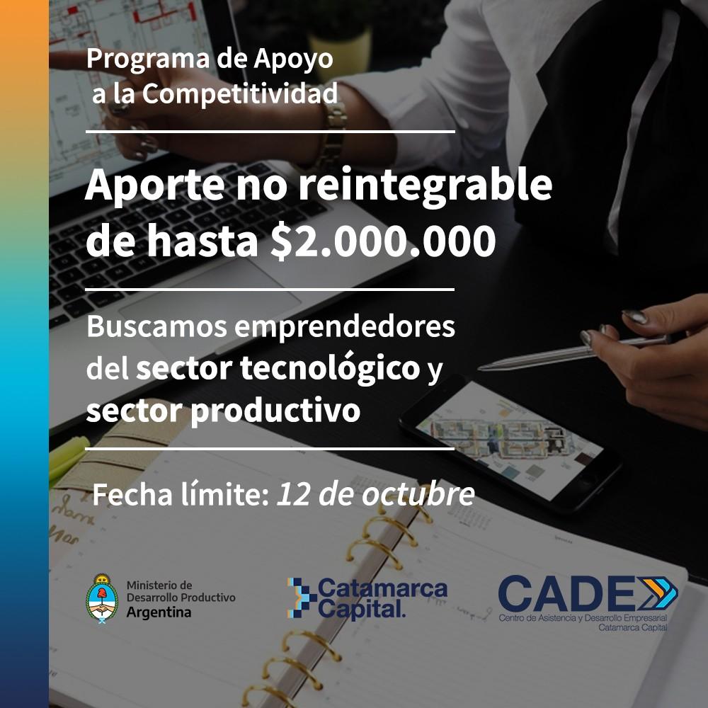 Aporte no reintegrable de hasta $2.000.000 para emprendedores del sector tecnológico y sector productivo