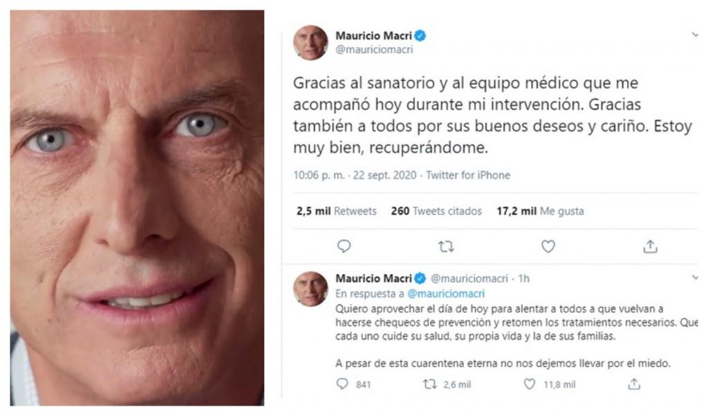 """El ex Presidente Macri agradecio los mensajes por su estado de salud,argentinos :""""No nos dejemos llevar por el miedo"""""""