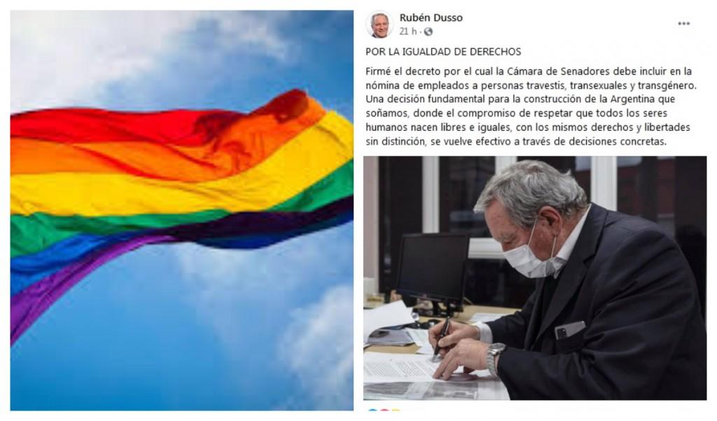 La comunidad LGBTQ+ destacó el decreto que firmó Dusso