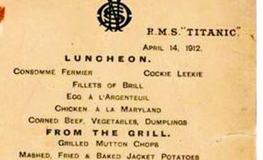 Rematan el menú de la última cena del Titanic