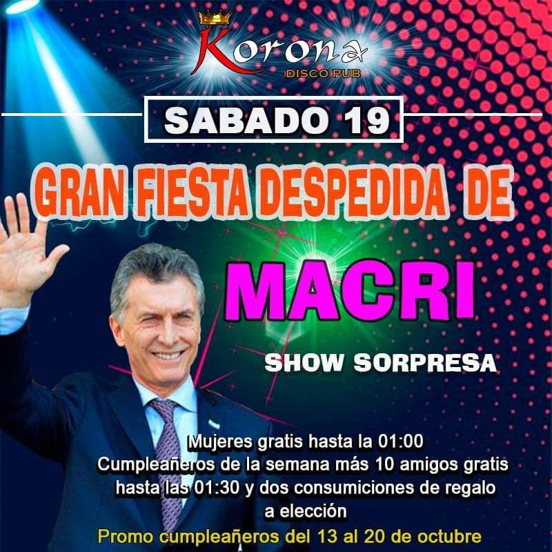 Propietarios de un Boliche organiza una gran fiesta de despedida a Mauricio Macri