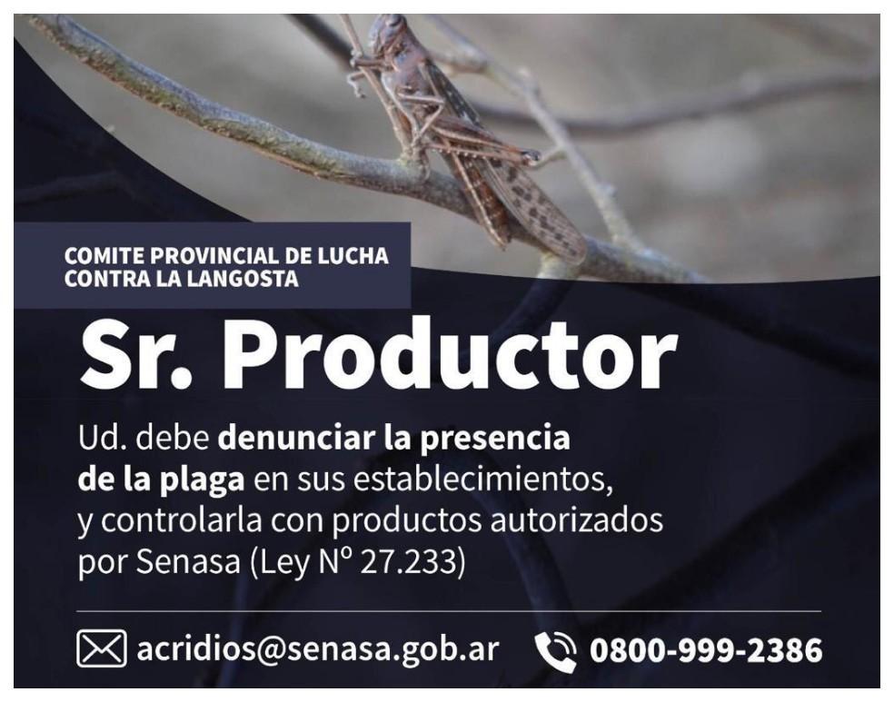 Provisión de insumos para contrarrestar manga de langostas