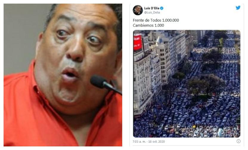 Luis D´elia utilizó una foto de una marcha opositora como si fuera de la movilización oficialista de ayer