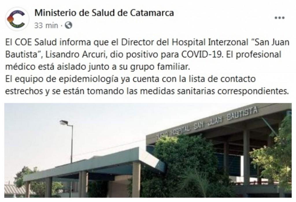 """El Director del Hospital Interzonal """"San Juan Bautista"""" dio positivo para COVID-19"""