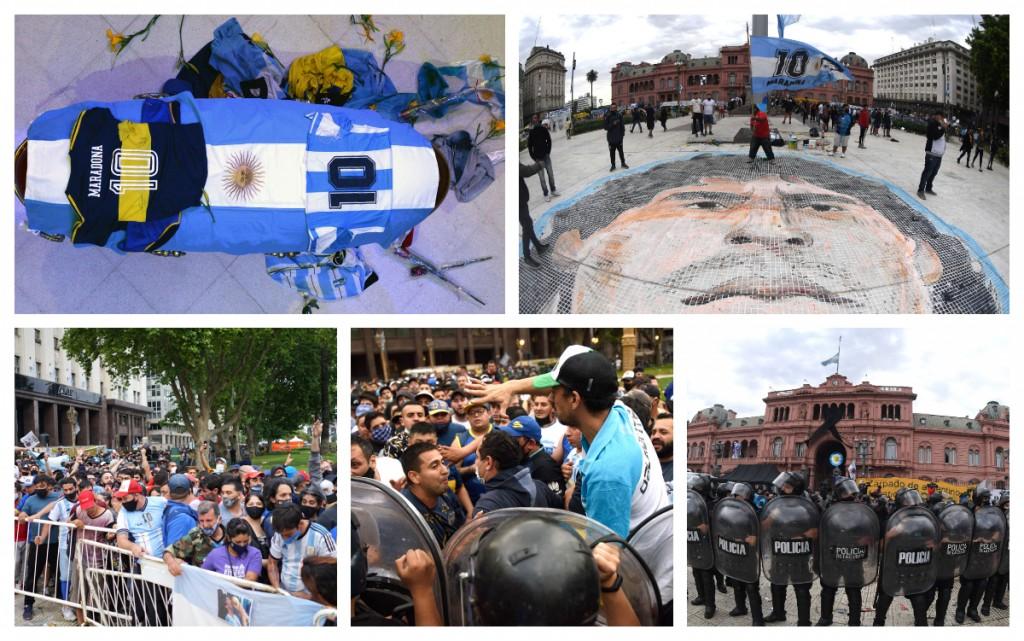 Galería de fotos: emoción y largas filas para decirle adiós a Diego Maradona