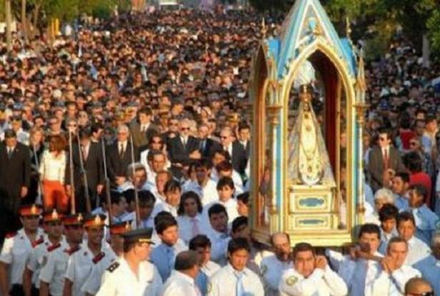 Transmisión televisiva satelital de la procesión de la Virgen del Valle
