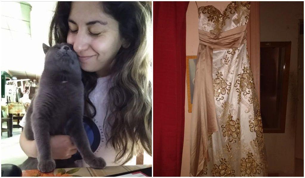 Desesperada, una joven puso a la venta su vestido de egreso para costear la operación de su gatito